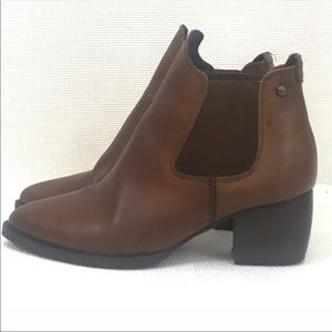 Topshop Chelsea leather ankle booties brown 38/8